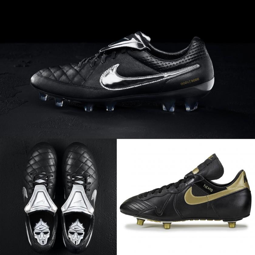 Nike Tiempo Legend V Premium Fußballschuh schwarz seite, oben 2015 u. Nike Tiempo D von 1985