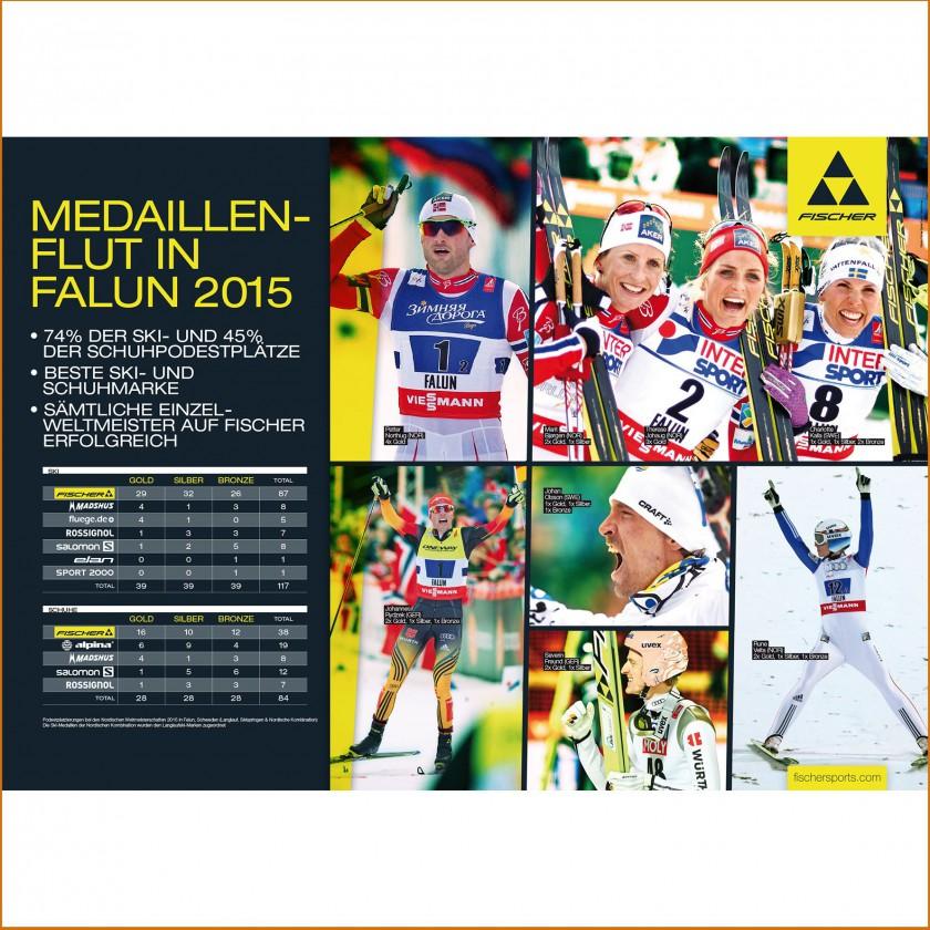 Fischer-Medaillenspiegel zur nordischen Ski-Weltmeisterschaft 2015 in Falun
