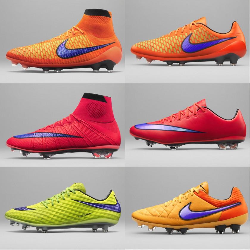 Intense Heat Pack Fußballschuhe 2015 von Nike: Magista Obra u. Opus, Mercurial Superfly IV u. X, Hypervenom Phantom u. Tiempo Legend V