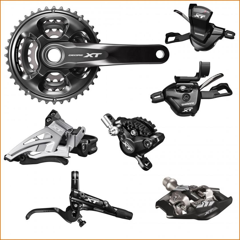 DEORE XT M8000 Kurbel, Schalthebel links/rechts, Umwerfer, Hydraulische Scheibenbremse, Bremshebel u.Pedale 2015 von Shimano