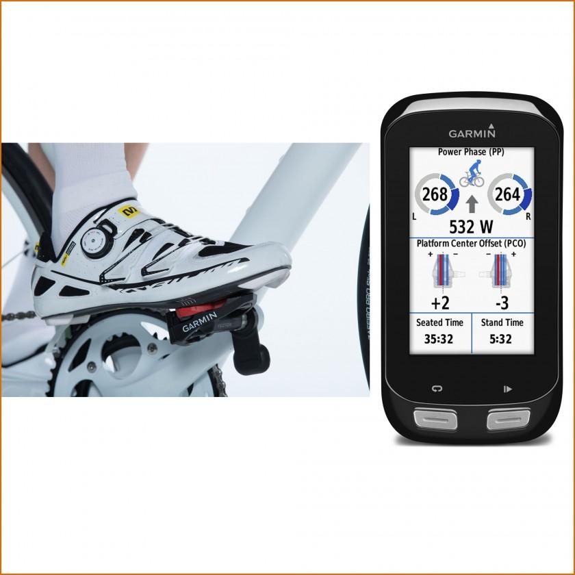 Vector 2 Wattmess-Pedalsystem am Rad installiert u. Cycling Dynamics Darstellung auf dem Edge 1000 2015 von Garmin