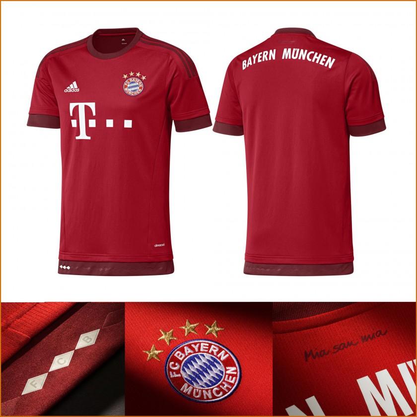 FC Bayern Mnchen Heim-Trikot der Bundesliga-Saison 2015/16 von adidas - vorne, hinten, details