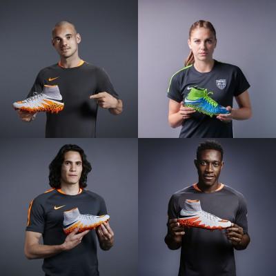 Wesley Sneijder, Alex Morgan, Edinson Cavani u. Danny Welbeck samt Hypervenom 2 Phantom Fuballschuh 2015 von Nike