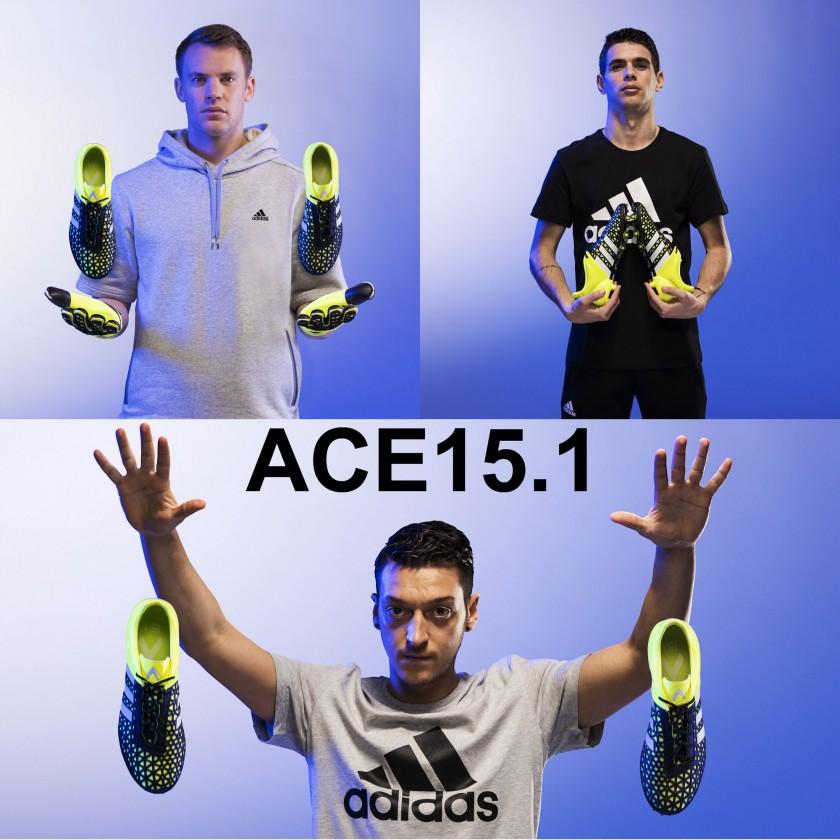 Manuel Neuer, Oscar u. Mesut zil mit dem ACE15.1 Fußballschuh 2015 von adidas