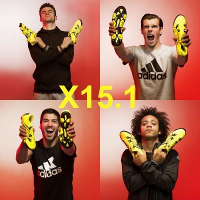 Thomas Mller, Gareth Bale, Luis Surez u. Marcelo mit dem X15.1 Fuballschuh 2015 von adidas