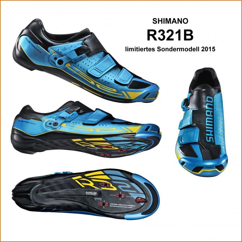R321B Fahrradschuh limited Edition blau, gelb seite, sohle, vorne 2015 von Shimano