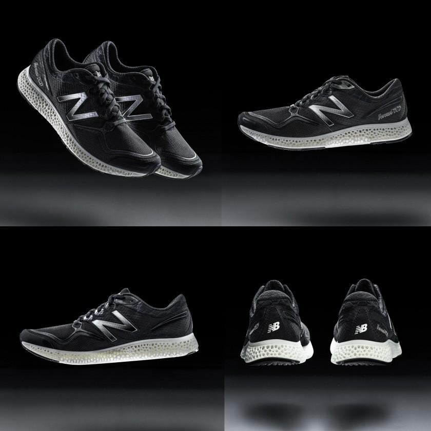 High-Performance-Laufschuh mit einer komplett 3D-gedruckten Zwischensohle seitlich, aussen, innen, hinten 2015 von New Balance