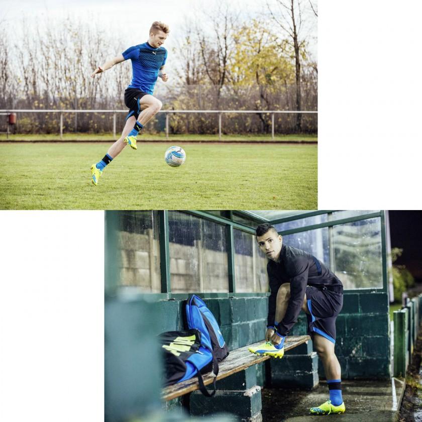 Marco Reus und Sergio Aguero im evoSPEED SL Fußballschuh gelb-blau 2016 von PUMA