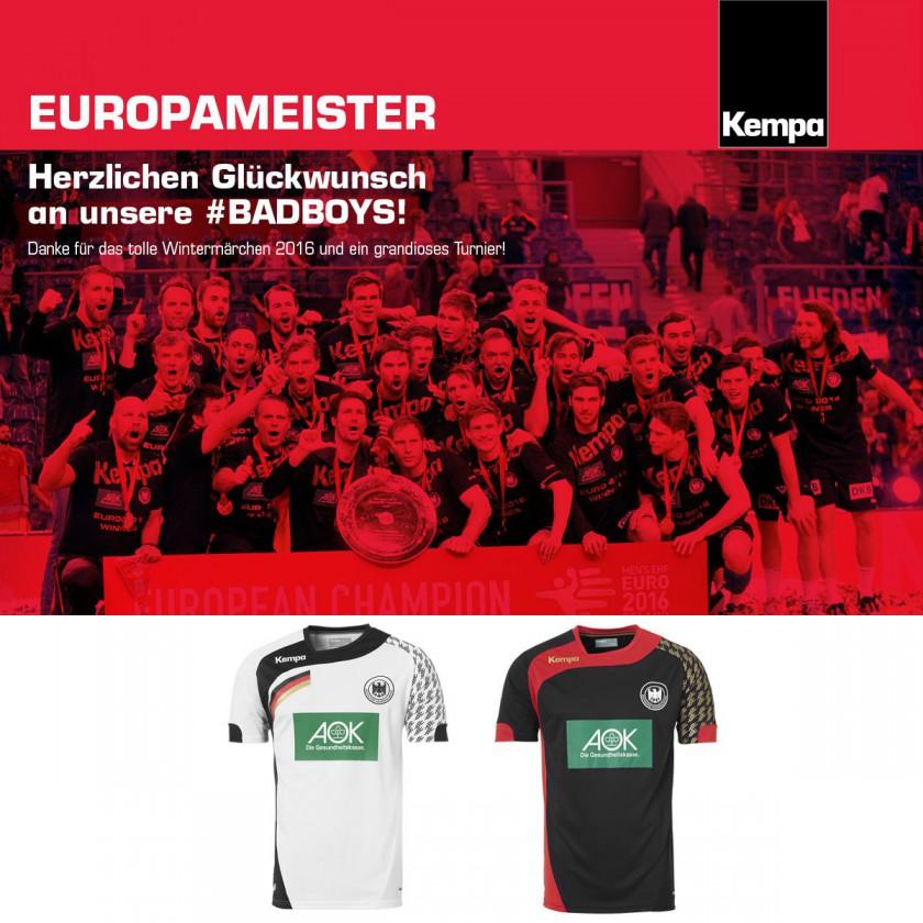 Handball-Europameister Deutschland 2016 mit Trikots von Ausrüster KEMPA