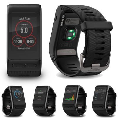 vivoactive HR GPS-Sport-Smartwatch vorne, hinten, verschiedenste Display-Anzeigen 2016 von Garmin