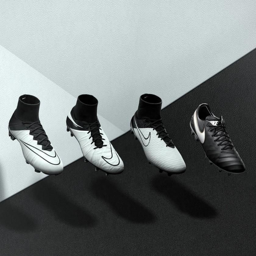 Nike Tech Craft Fußballschuhe 2016 im schwarz-weiß Look: Mercurial Superfly IV, Hypervenom II Phantom, Magista Obra und Tiempo VI
