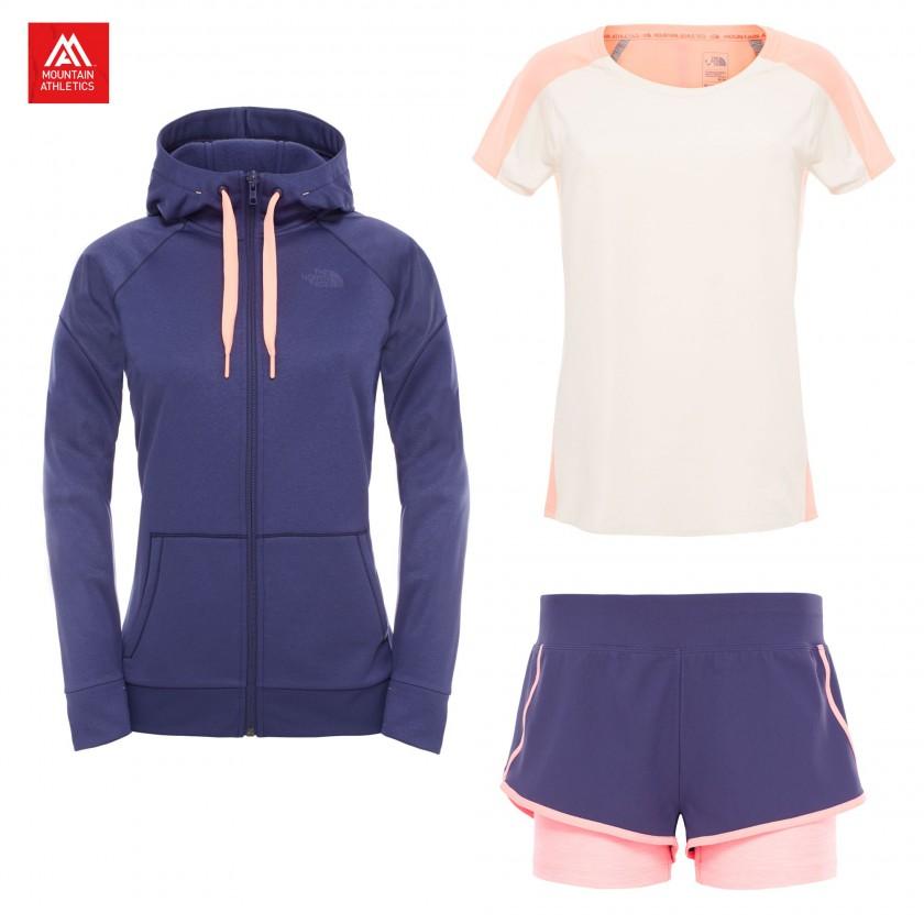 Suprema Full Zip Hoodie, Dynamix S/S Shirt u. Dynamix Stretch Shorts Damen 2016 von The North Face
