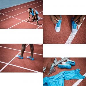Usain Bolt mit seinem evoSPEED DISC Spike seite, oben, sohle 2016 von PUMA