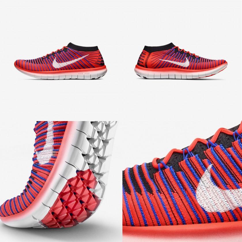 Nike Free RN Motion Flyknit Laufschuhe rot auen, innen, sohle 2016