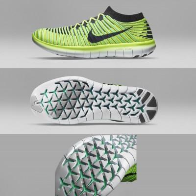 Nike Free RN Motion Flyknit Laufschuhe gelb seite, sohle 2016