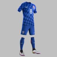 Kroatien Auswrtstrikot, Shorts u. Stutzen fr die EM 2016 von Nike