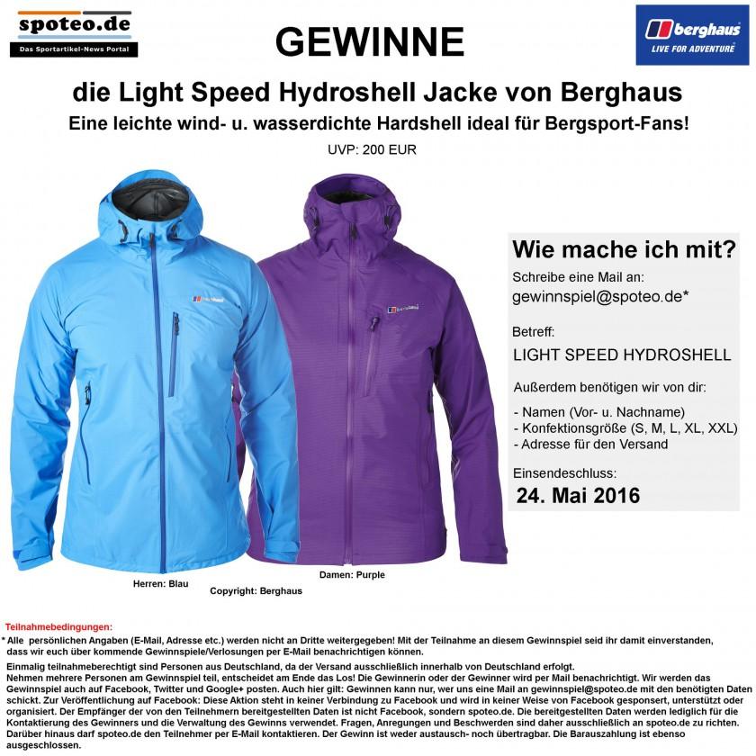 Gewinnspiel: Gewinne die Light Speed Hydroshell Jacke von Berghaus