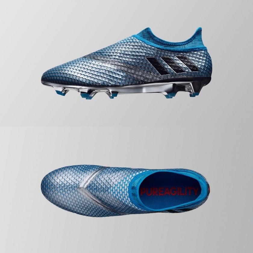 MESSI 16+ PUREAGILITY Mercury Pack Fußballschuhe im Chrome-Design seite, oben 2016 von adidas