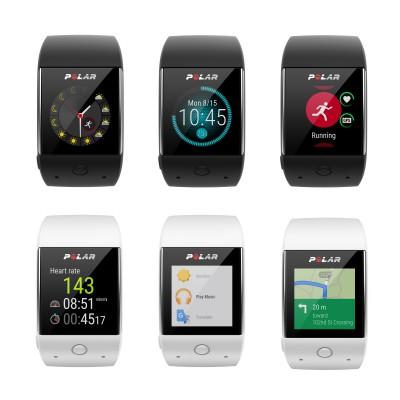 M600 Sport-Smartwatch schwarz, wei front u.a. Wetter, Zeit, Aktivitt, Herzfrequenz, Navigation 2016 von Polar