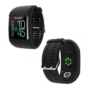 M600 Sport-Smartwatch mit Pulsmessung am Handgelenk schwarz seitlich 2016 von Polar