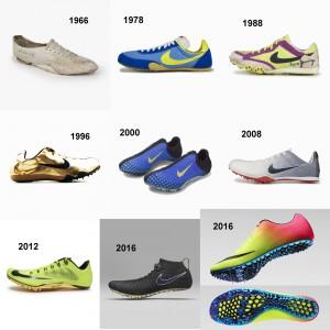 Vom Nike Track Spike 1966 bis zum Nike Zoom Superfly Elite 2016