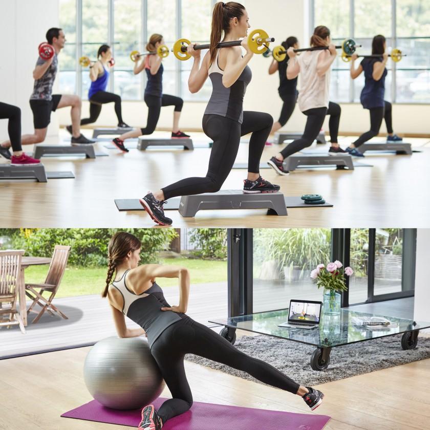 Shape Booster Leggings in Aktion beim Fitnesstraining 2016 von DOMYOS