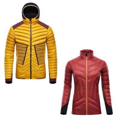 Hybrid Jacket Herren nugget-gold u. Damen decadent-chocolate 2016/17 von BLACKYAK