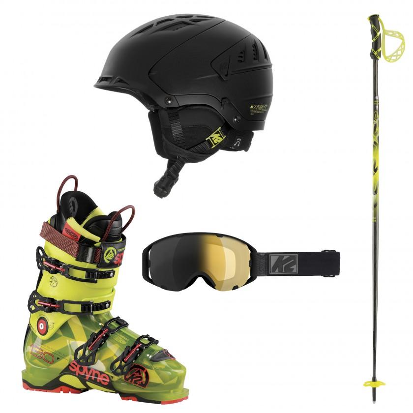 Diversion Skihelm, SPYNE 130 Skischuhe, Source T Goggle u. Stöcke mit Rip-Cord Schlaufen-Konstruktion 2016/17 von K2 SKIS