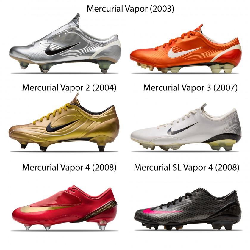 Cristiano Ronaldos Mercurial Fußballschuhe von 2003 bis 2008 von Nike
