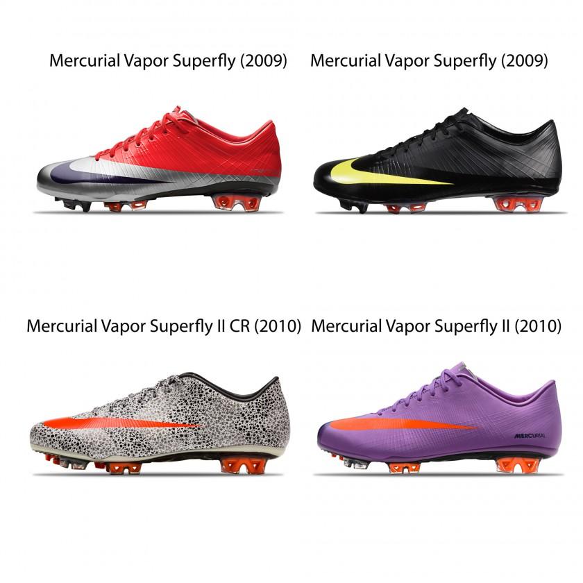 Cristiano Ronaldos Mercurial Vapor Superfly Fuballschuhe von 2009 u. 2010 von Nike