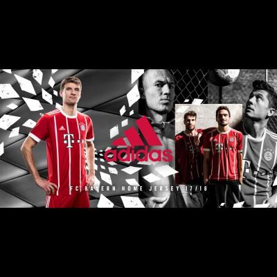 Thomas Mller, Mats Hummels und Javi Martinez im neuen FC Bayern Mnchen Heimtrikot 2017/18 von adidas