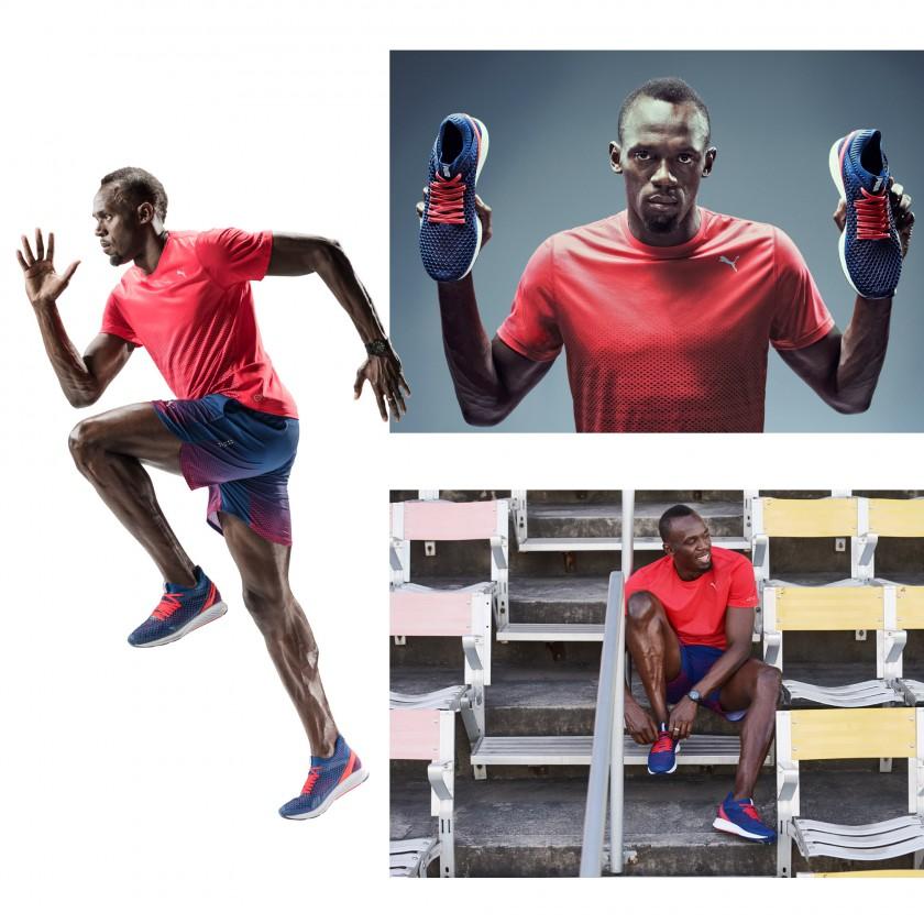 Usain Bolt mit seinen IGNITE NETFIT Laufschuhen 2017 von PUMA