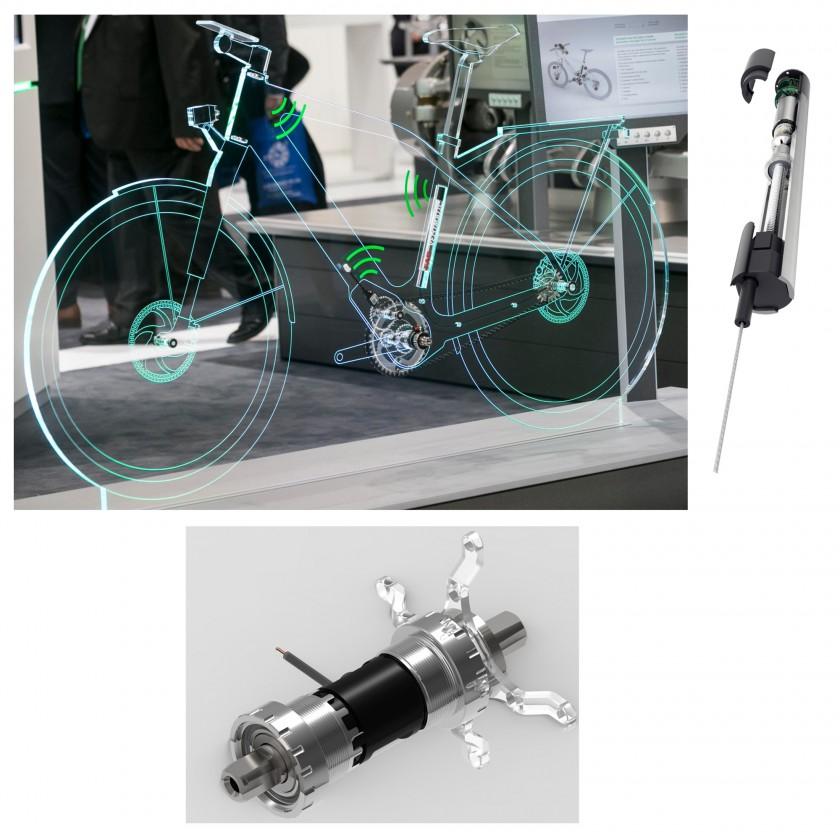Gläsernes Fahrrad der Zukunft mit Drehmoment-Sensor-Innenlager u. VELOMATIC 2018 von Schaeffler