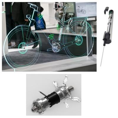 Glsernes Fahrrad der Zukunft mit Drehmoment-Sensor-Innenlager u. VELOMATIC 2018 von Schaeffler