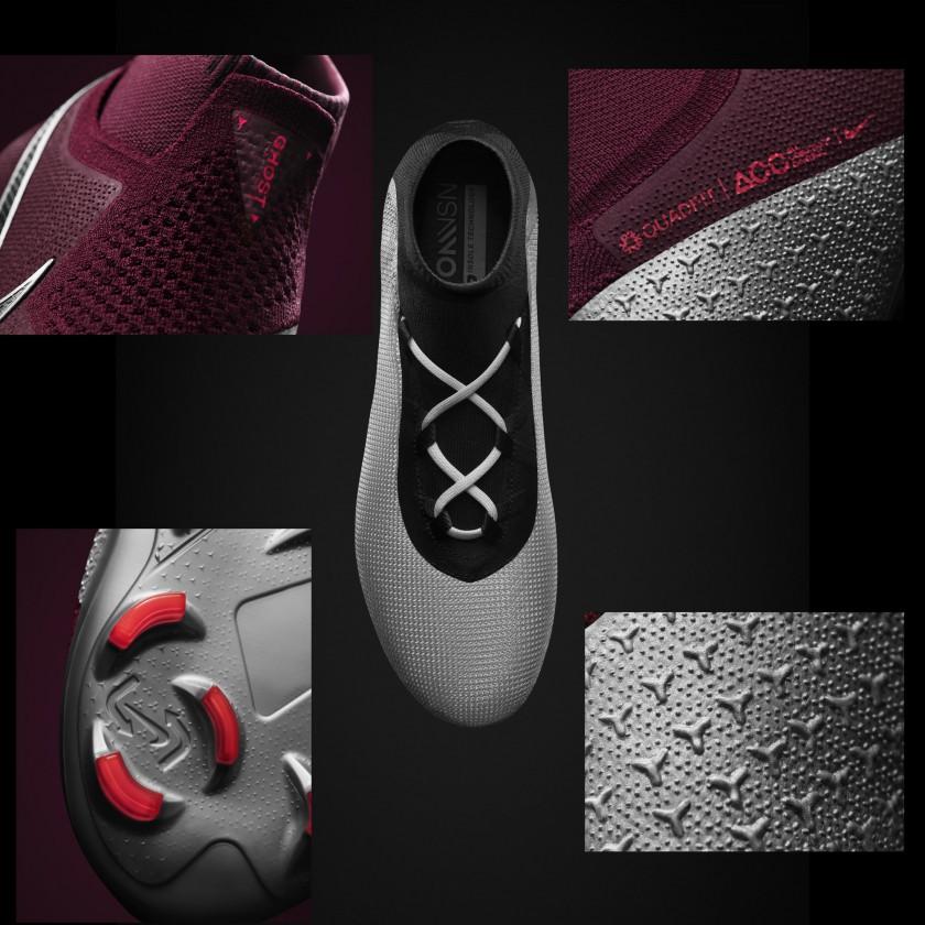 PhantomVSN Fußballschuh mit Ghost Lace-System geschlossen, offen, Quadfit, neues Stollensystem, Advancing Touch 2018 von Nike