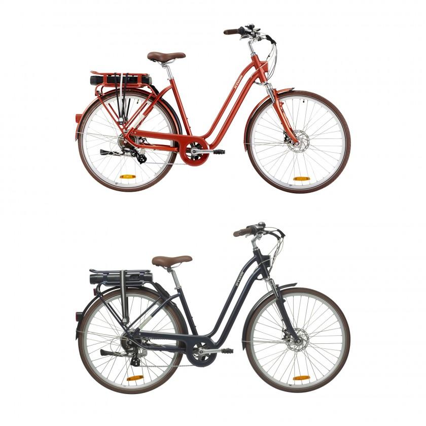Elops 900 E-Bikes ziegelrot, navyblau 2019 von Decathlon