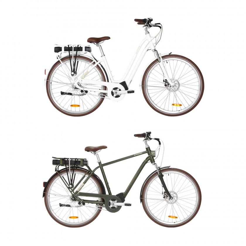 Elops 920 E-Bikes weiß, lärchengrün 2019 von Decathlon