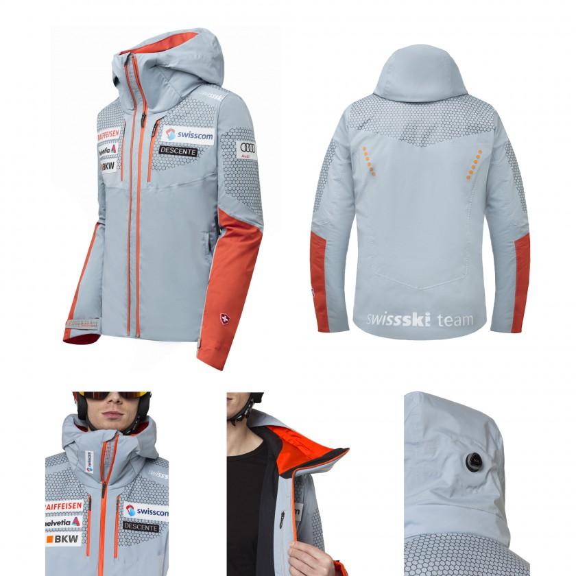 Swiss Ski Replica Lightweight Jacket seite, hinten, vorne, innen, kapuze 2019/20 von Descente