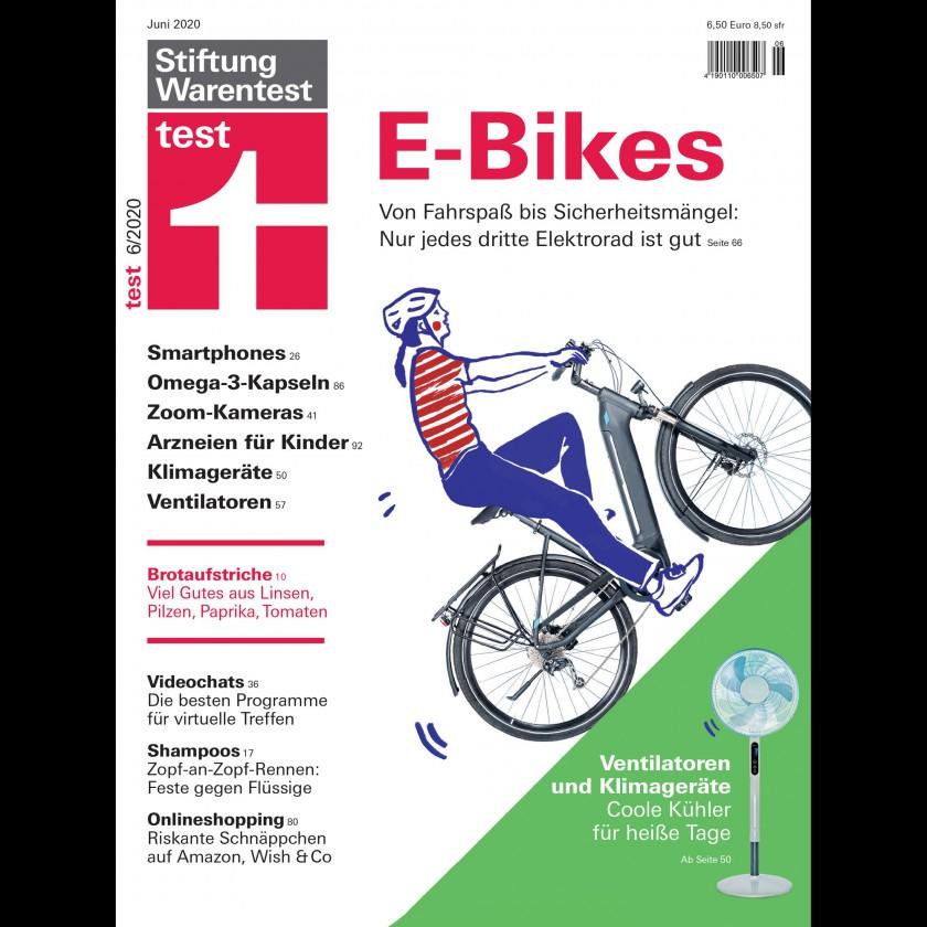 Stiftung Warentest: Cover der Ausgabe 06/2020 - E-Bikes - Nur 4 von 12 schaffen ein Gut