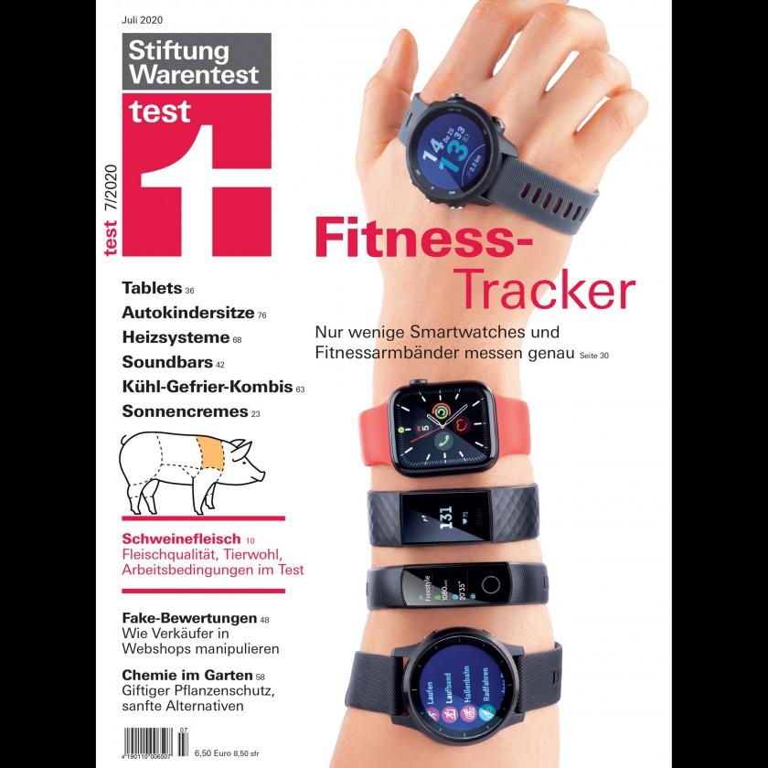 Stiftung Warentest: Cover der Ausgabe 07/2020 - Fitness Tracker: Nur wenige messen genau