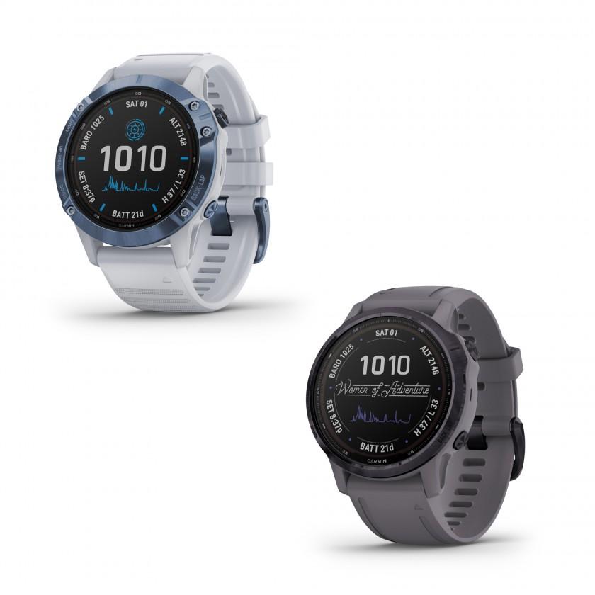 fenix 6 PRO Solar dunkelgrau/lila und fenix 6S Solar steinweiss/blau Outdoor-Smartwatch 2020 von Garmin