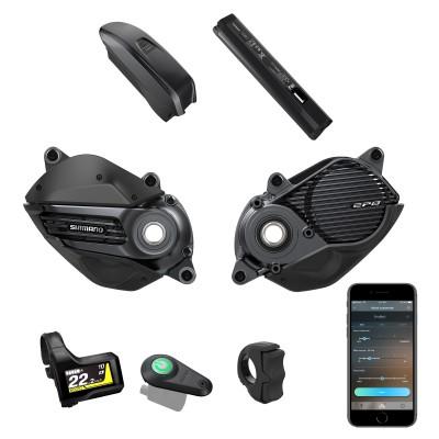 EP8-System von Shimano mit dem EP800 Motor, Akkus, Display, On-/Off-Button, Bedienelement u. App 2020