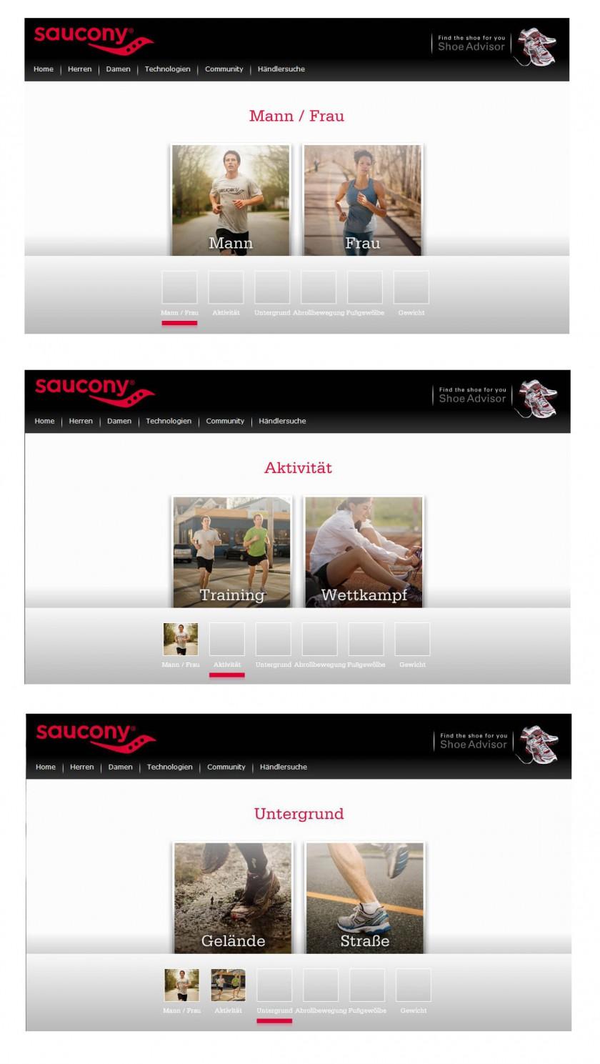 Online-Laufschuhberater von Saucony