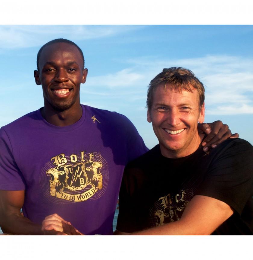 Foto Karen Fuchs: Usain Bolt mit Jochen Zeitz