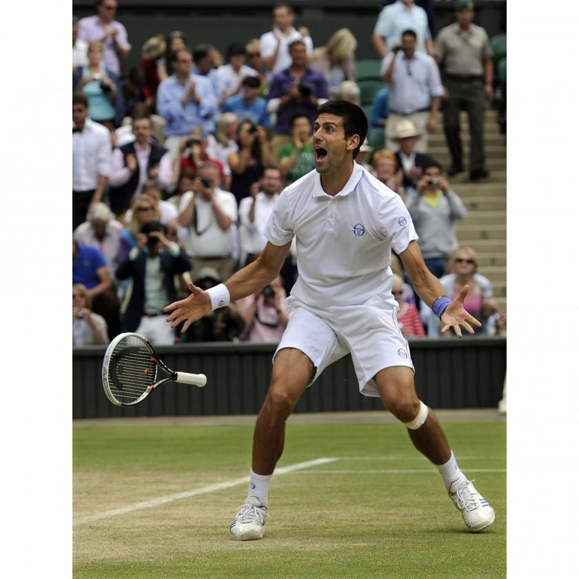 Novak Djokovic jubelnd bei seinem Wimbledon Sieg 2011