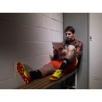 Lionel Messi bei der Auswertung seiner Trainingsdaten im F50 adizero miCoach 2011
