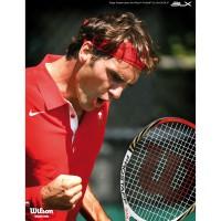 Roger Federer mit seinem neuen Racket fr 2012, dem Six.One Pro Staff 90 von Wilson