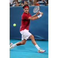 Roger Federer in Nike RF Smash Stripe Polo und Smash Woven Short Australian Open 2012