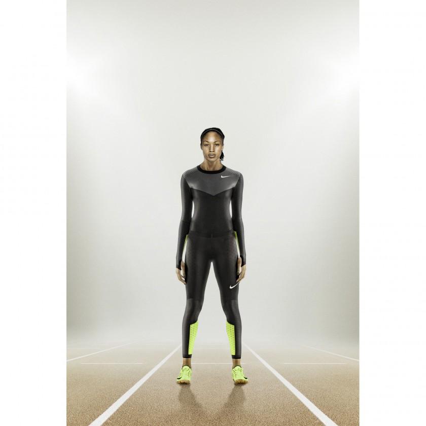 Allison Felix im Nike Pro Turbospeed-Anzug und in Nike Zoom Superfly R4 2012