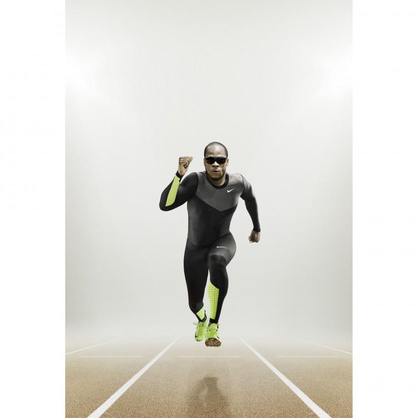 Walter Dix im Nike Pro Turbospeed-Anzug und in Nike Zoom Superfly R4 2012